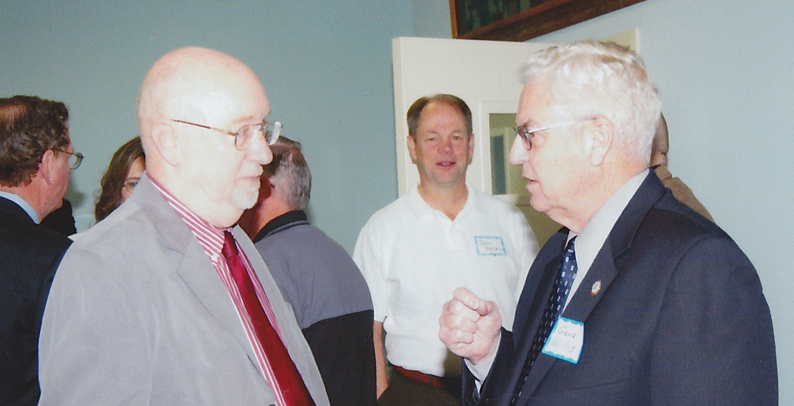 SGM (Ret) Charles Locke chatting with DMS Admin ICON MSG (Ret) Gene Willis - in the background is John Sarles
