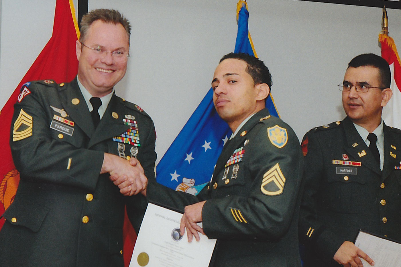 L-R MSG James Pardue, SSG Jose Rios and CW4 Angel Martinez