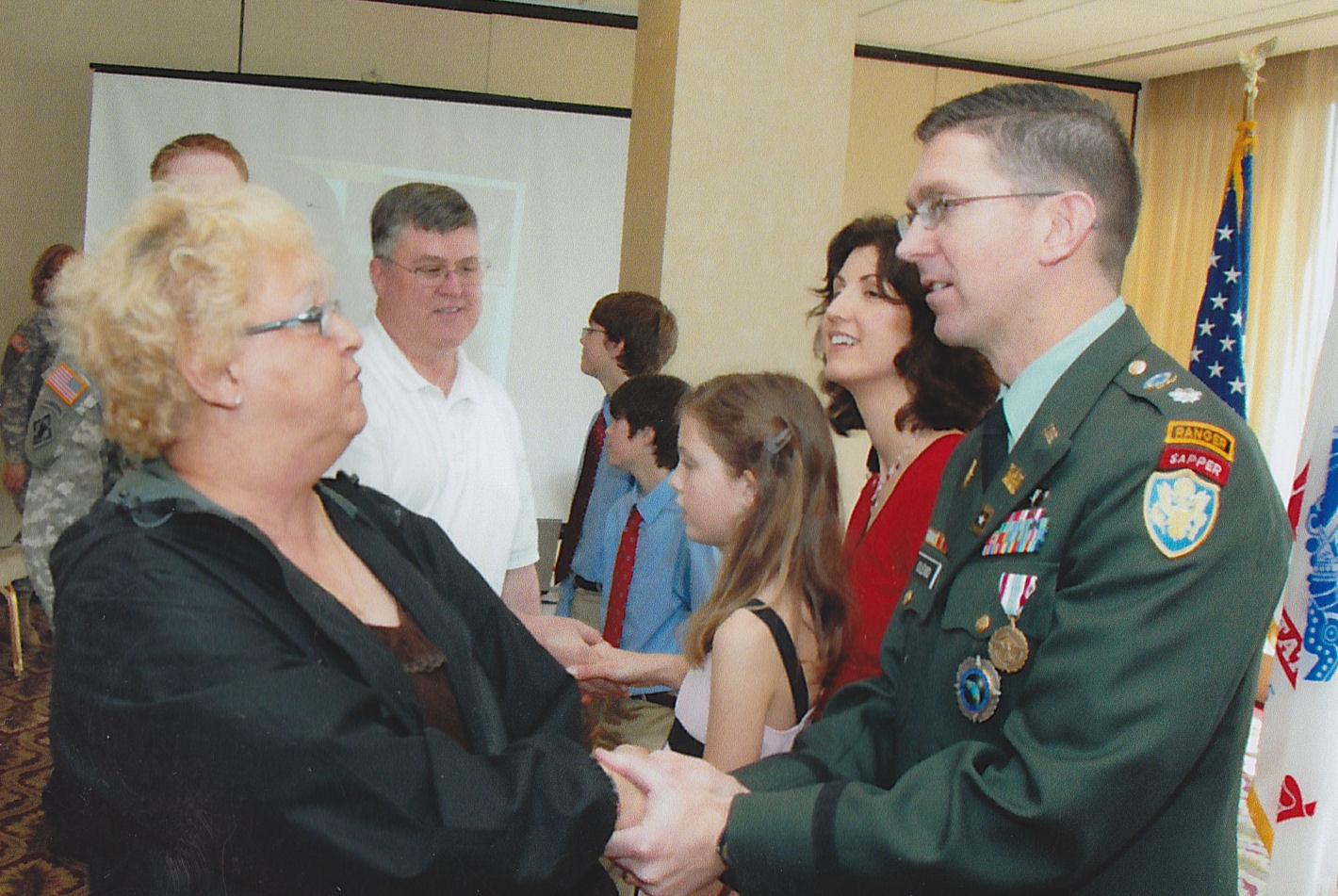L-R Peggy Burkes, Dana Reeves and LTC Dan Olexio