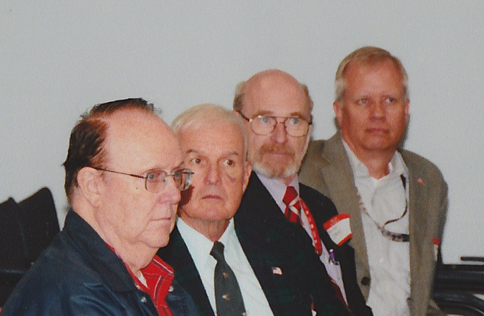 L to R and apparently listening very intensly are -- MAJ (Ret) Don Faxon, COL (Ret) Dan Clark, MAJ (Ret) John Jens nad COL (Ret) Bob Slusar