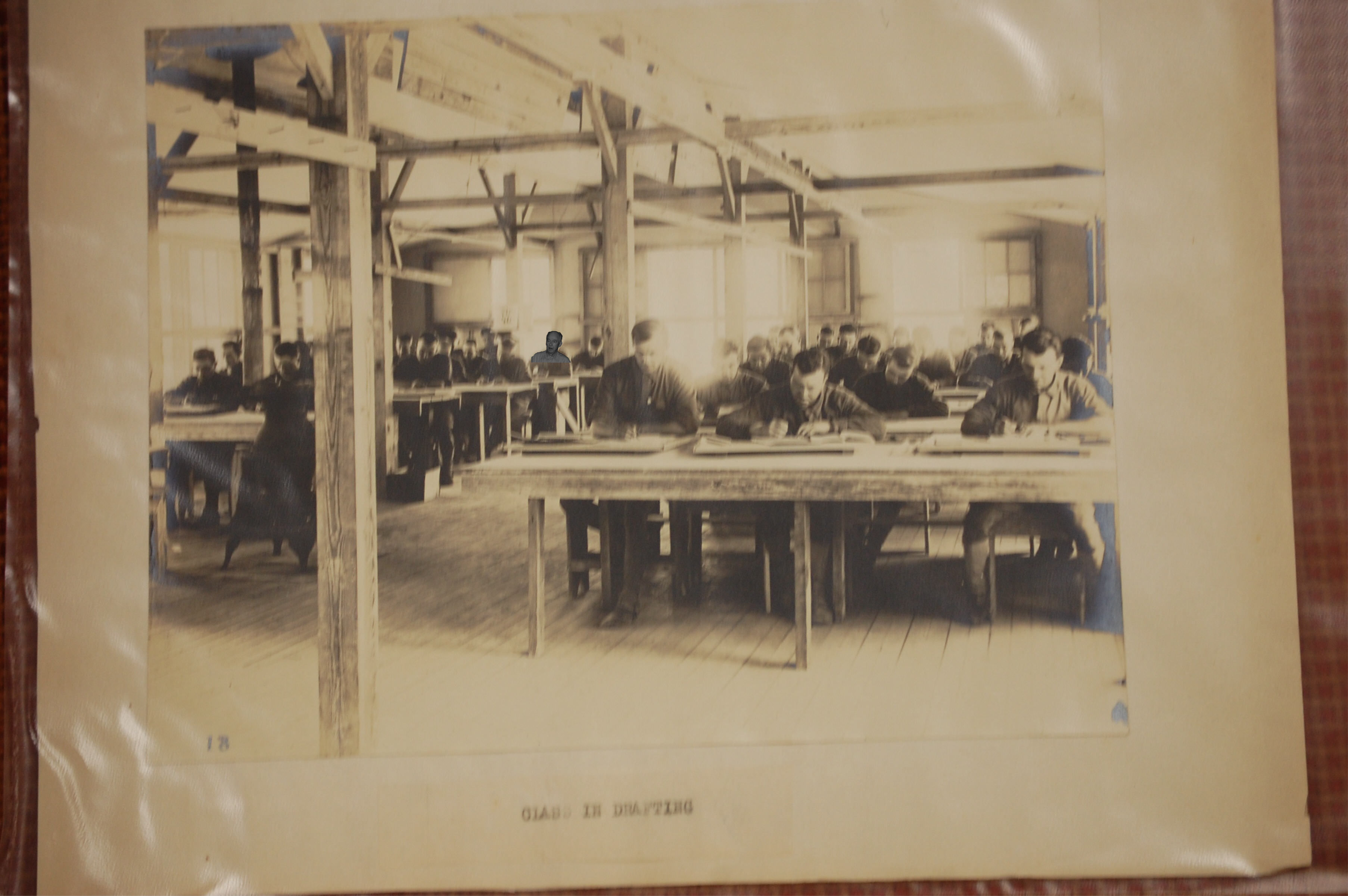 "A Drafting class in 1918 - If this were in color and you could ""smell"" you would see bright yellow #2 pencils and smell ""art-gum and ruby red erasers"""