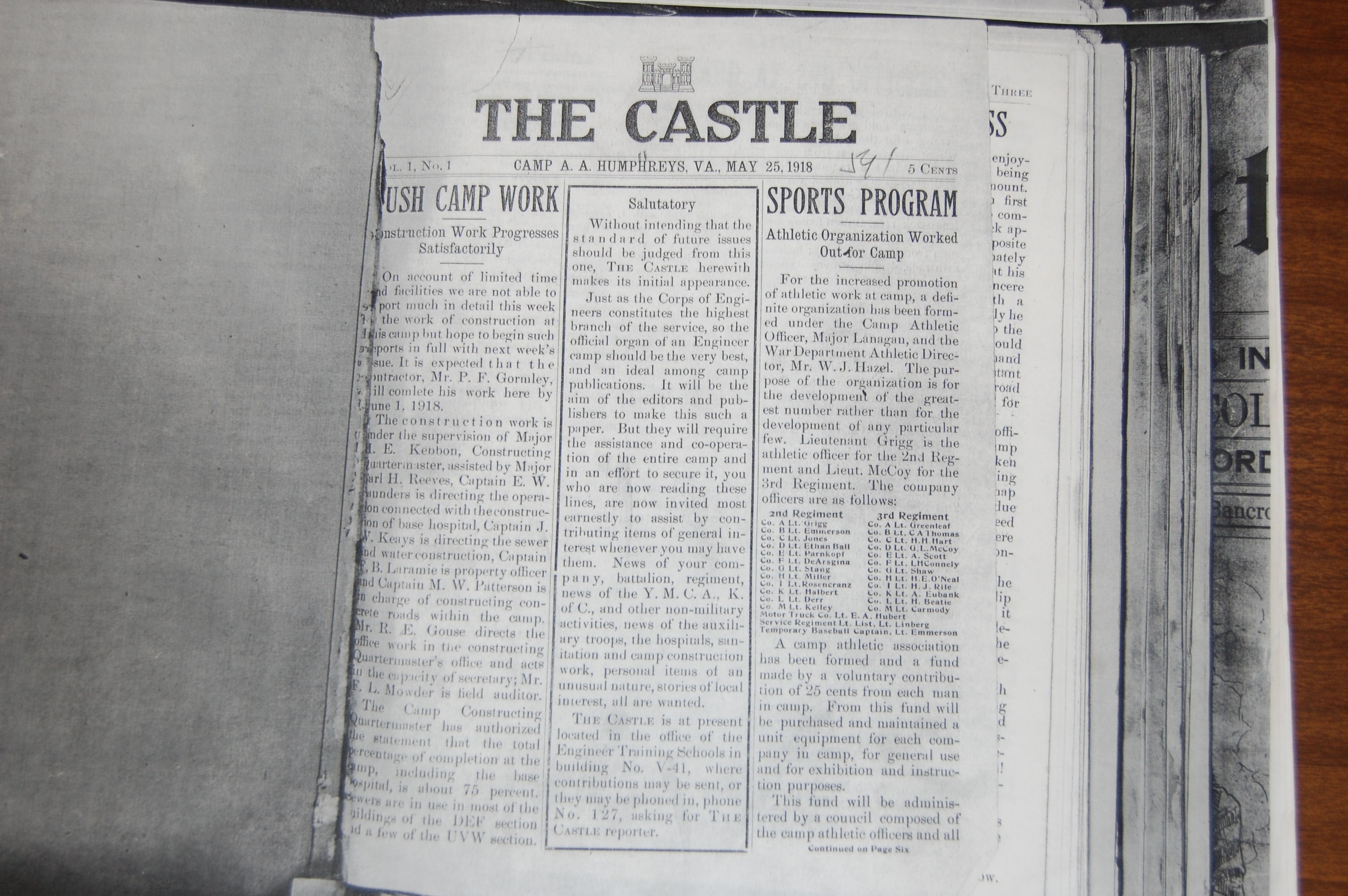 the first mission of The School of Lithography was to design, edit and publish a post newspaper hence the establishment of The Castle in May of 1918.  That publication succumbed to the Eagle after the Engineer School moved to Fort Leonard Wood but basically still services the Fort Belvoir Community.  The picture attached is a copy of the first edition.   A copy from October 1918 was presented to the school and I hope is on display somewhere as it cost Jack twenty bucks to buy!!