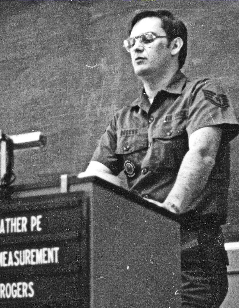 Rick Rogers doing a presentation for a Basic Geodetic Survey Course in 1980.
