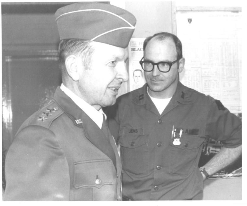 circ.'75-'79 the then Cpt John Jens escorting MG Martin (Director DMA) on a tour of the Survey Plt at the 649th Topo Bn, Tompkins barracks, Schwetzingen FRG. MG Martin has recently passed away and I have no further information at this time.