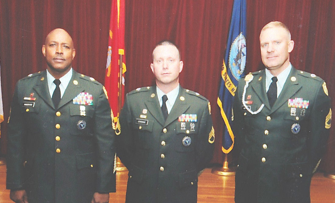 The LAST School house Army Surveyors... L to R .. MSG Robertson, SSG Levesque and SFC Heitkamp