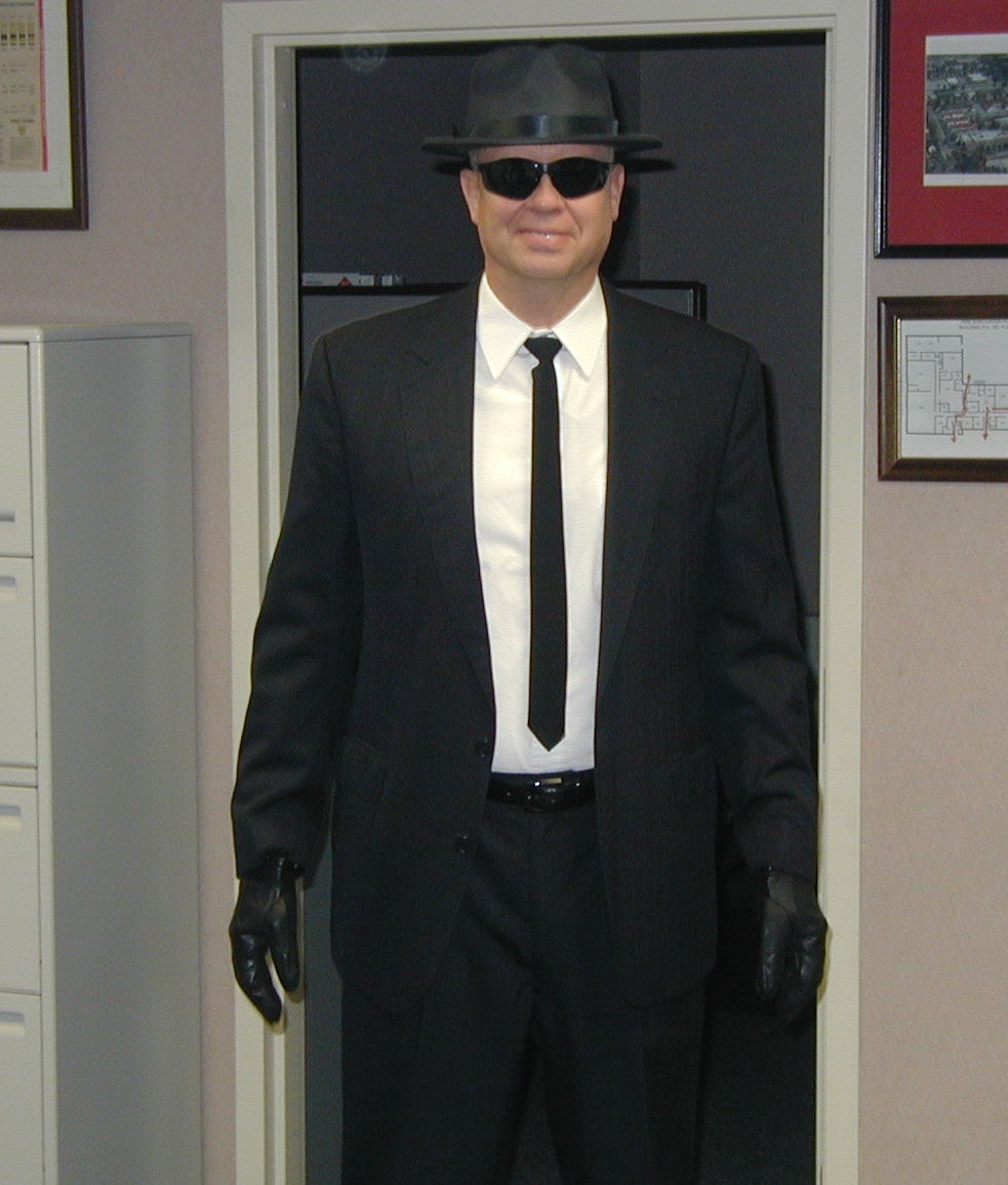 COL Bob Slusar in an attempt to become one of the Blues Brothers during Halloween .