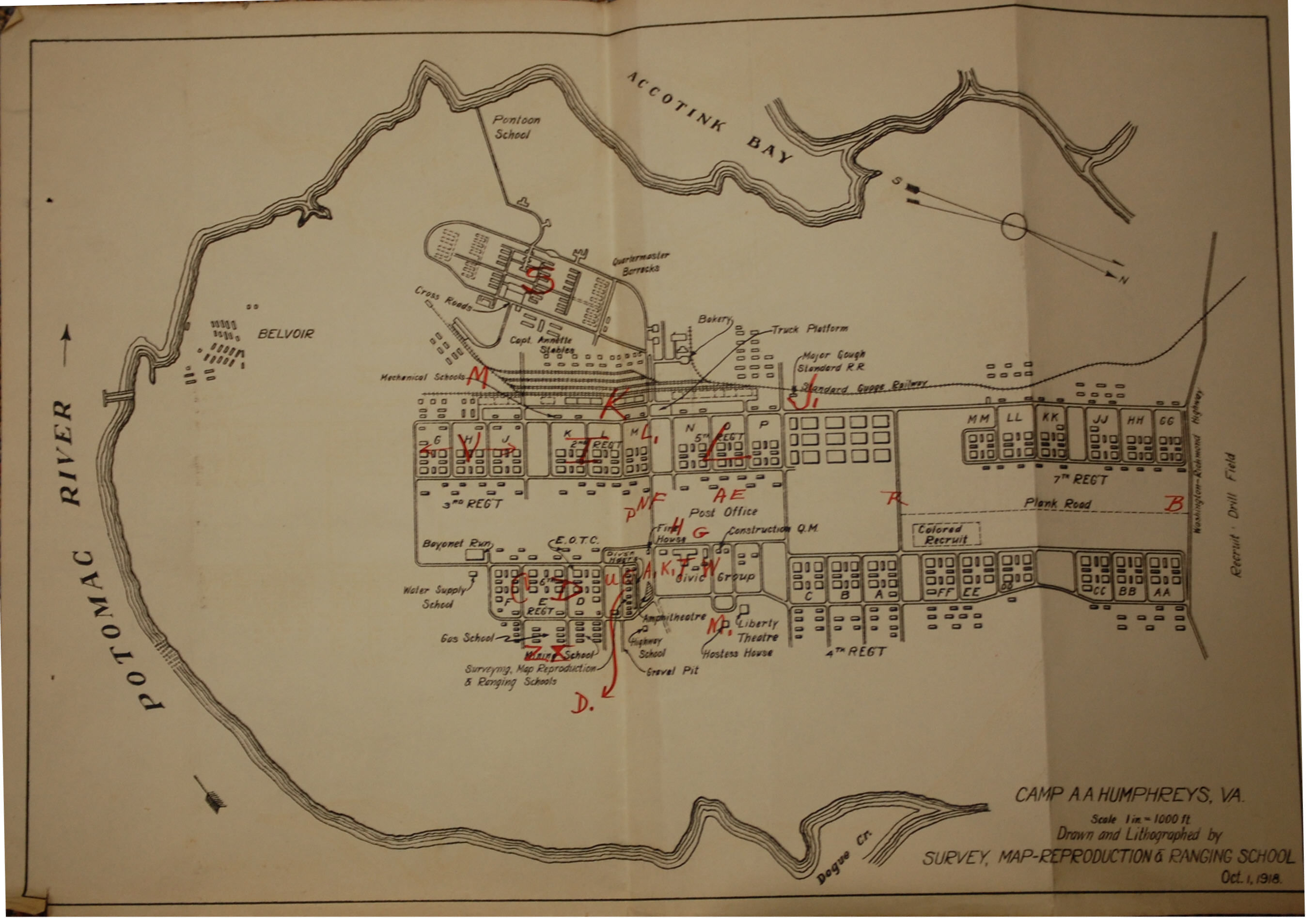 A 1918 Site map of Fort Belvoir whan it was named Camp Humphreys - Of note, it has a section just for colored recruits noted in dashed lines.