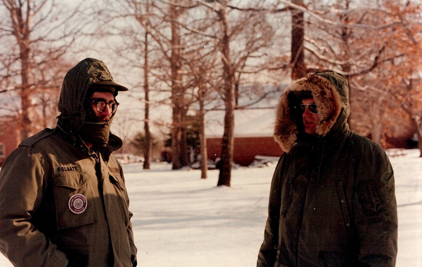 Who says teaching is all warm and cozy and always indoors?? Sgts Tom Folgate and Rick Rogers during an BGS outdoor Practical Exercise. Probably circa 1980 or 81