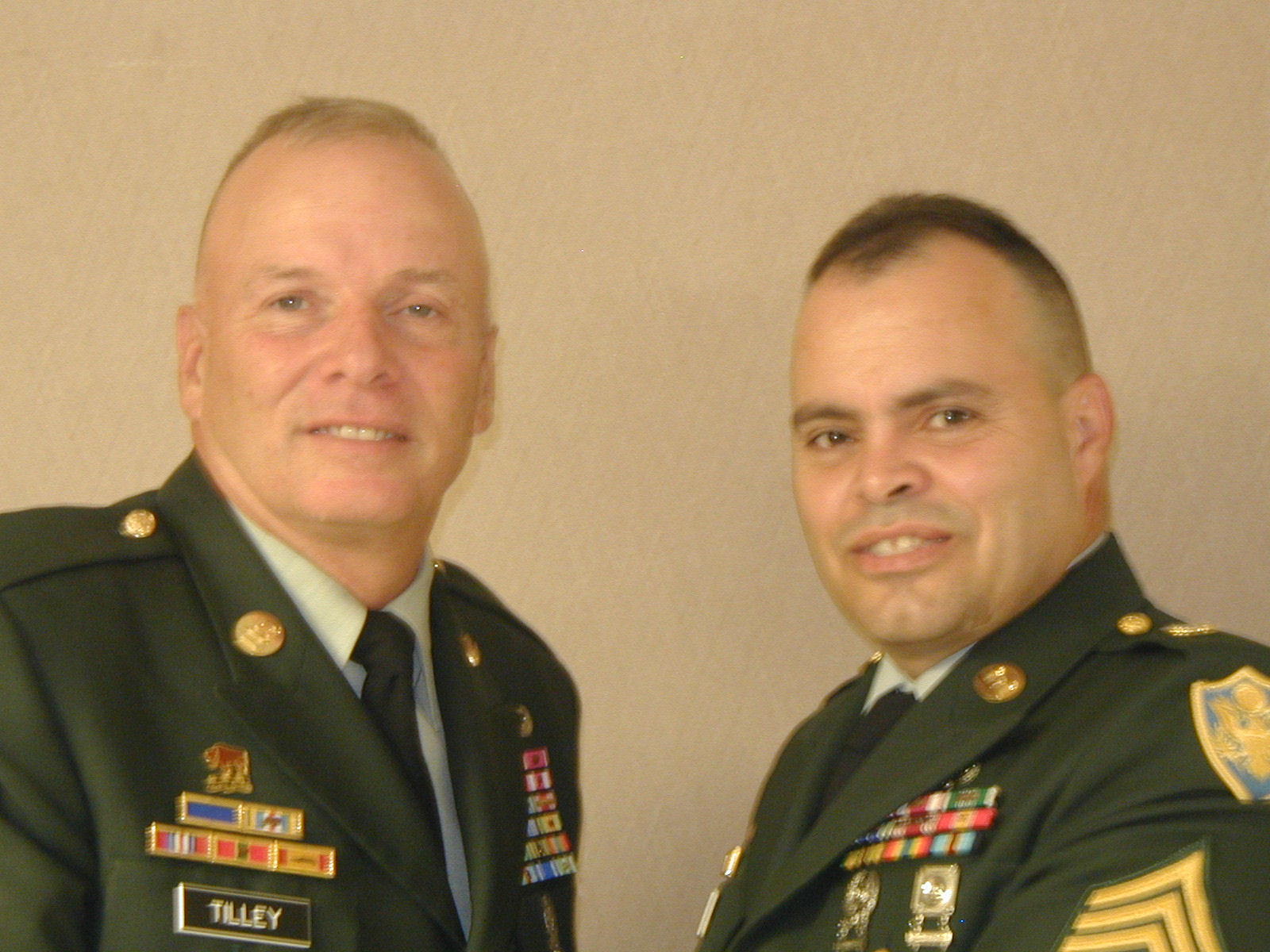 Sergeant Major of the Army Jack L. Tilley with the then present school Sergeant Major Cecilio Rodriguez - circa 2004
